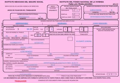 Hoja rosa del IMSS del NSS